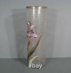 Ancien Vase Verre Émaillé Style Art Nouveau Décor Iris Montjoye Legras Pantin