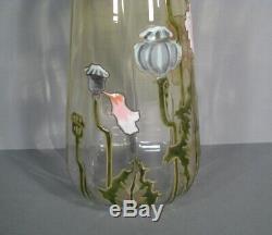 Ancien Vase Verre Émaillé Style Art Nouveau Décor Pavot Montjoye Legras Pantin