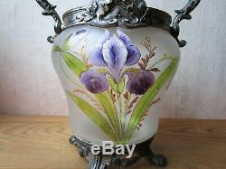 Ancien superbe seau à biscuits décor émaillé style Legras iris Art Nouveau 1900