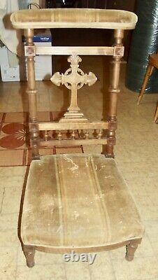 Antique Prie Dieu Tapisserie Tissu Prière Ecclésiastique Croix style Art Nouveau