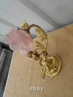 Applique Fleurie Epoque Art Nouveau De Style Louis 16 En Bronze Dore