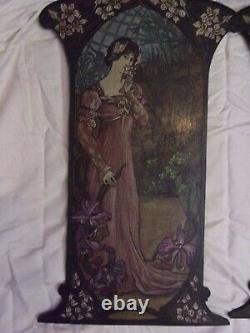 Art Nouveau 2 peintures sur bois chêne style Alfons MUCHA
