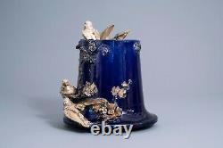 Auguste Jean vase exceptionnel de style Art Nouveau en faïence