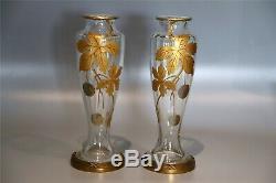 BACCARAT Antique Paire de vases cristal Art Nouveaux style Ca 1900. Etiquette