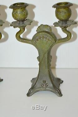 BELLE PAIRE de BOUGEOIRS ART NOUVEAU Portraits style MUCHA Régule patine Bronze