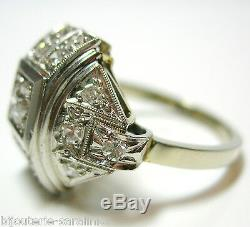 Bague Art Déco Or Blanc 18k Avec 0.70 Carats Diamants Hvs Ring Old Style
