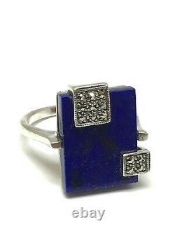 Bague en Argent massif style art déco lapis lazuli et Marcassites