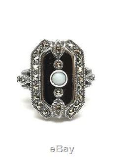 Bague en argent style art déco onyx opale et marcassites
