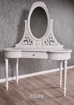 Baroque Coiffeuse Blanc Antique Massif Style Miroir Art Coiffeuse Vintage Neuf