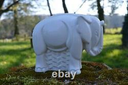 Bel Eléphant Blanc Craquelé Lemanceau Style Art Nouveau Non Signé 18x15cm
