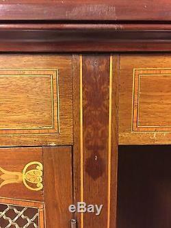 Bibliothèque acajou style Louis XVI marqueterie bronzes dorés