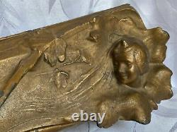 Boîte en régule peinte à décor sculpté de style Art Nouveau Majorelle