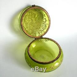 Bonbonnière en verre émaillé teinté Art nouveau style Legras Moser trinket box