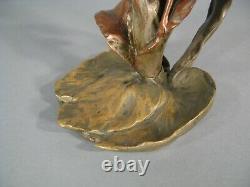 Bougeoir Flambeau Ancien Bronze Style Art Nouveau Décor Femme Nue Jugendstil
