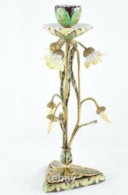 Bougeoir Style Art Deco Porcelaine Bronze Ceramique