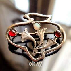 Broche Art Nouveau Style Nouille Argent à Décor De Fleurs Grenats Opale 36x24 Mm