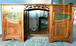 Bureau art nouveau en chêne style Serrurier-Bovy