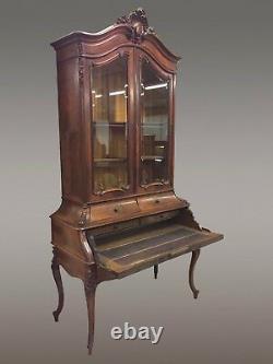 Bureau de pente formant bibliothèque en palissandre style Louis XV Napoléon III
