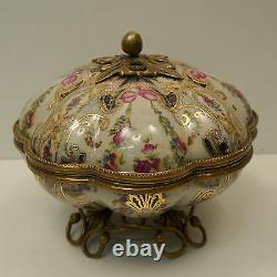 Centre de table Boite Fleur Style Art Deco Style Art Nouveau Porcelaine Bronze