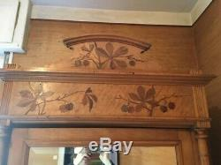 Chambre à coucher bois marqueté, style Art Nouveau 1900 Ecole Nancy