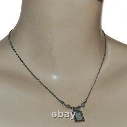 Collier style ancien art déco en argent massif 925 jade et marcassite 40cm bijou