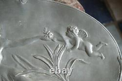 Coupe Etain Style Art Nouveau Signée Jean Garnier Epoque Fin XIXe / début 1900