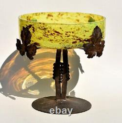 Coupe à Fruits Art Nouveau fer forgé et verre Style Muller Frères