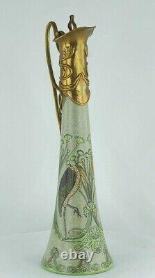Cruche Pichet Oiseau Marabout Style Art Deco Porcelaine Bronze