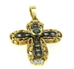 Crucifix En Style Ancien Vintage Or Massif 18K Croix Diamants Et Saphirs