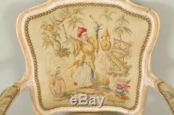 Fauteuils style Louis XV tapisserie Aubusson
