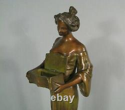 Femme Fleur Style Mucha Sculpture Style Art Nouveau Bronze Ancien Jugendstil