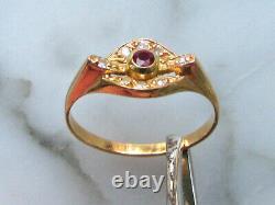 Fine bague or rose 18 K tête d'aigle rubis 8 petits diamants style Art Nouveau
