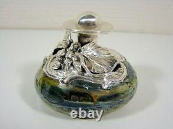 Flacon Parfum Verre et Argent Massif Art Nouveau Roi SALOMON Israel style Loetz