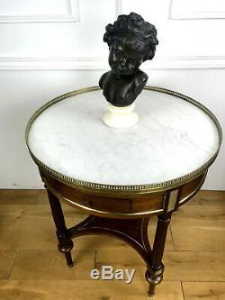 GUERIDON DITES TABLE BOUILLOTTE EN MARQUETERIE et DESSUS MARBRE DE STYLE L. XVI