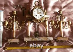 Garniture de cheminée style Louis XVI Flambeau & Carquois Bronze & marbre