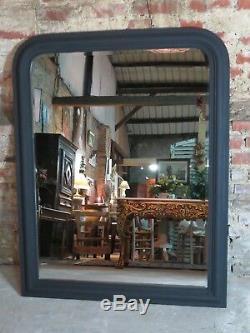 Glace / miroir de style Louis Philippe en bois noir mat 138 x 110 cm