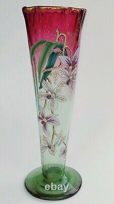 Grand Vase Émaillé Art Nouveau, Décor d'orchidées, Dans Le Style de Legras