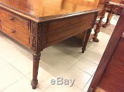 Grand bureau plat style Henri II noyer 1900