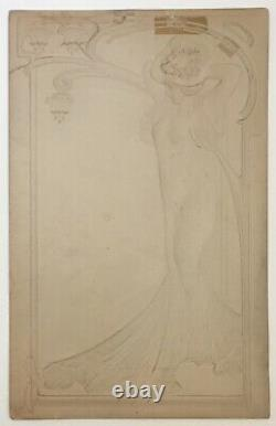 Gravure Papier Embossé Doré Portrait Femme Elégante Art Nouveau style Mucha 1900