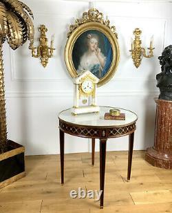 Gueridon De Style Louis XVI Attribué A André Mailfert Avec Dessus Marbre
