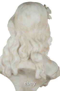 Italien Style Art Nouveau Fabuleux Albâtre Buste De Un Fille C. 1890s