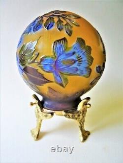 Lampe Boule Gravée style Gallé, Art Nouveau, socle bronze hauteur 13 cm