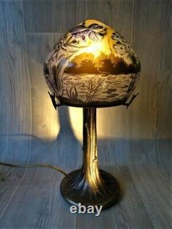 Lampe CHAMPIGNON PM PAYSAGE BLEU, Art Nouveau, Style Gallé, Art Nouveau