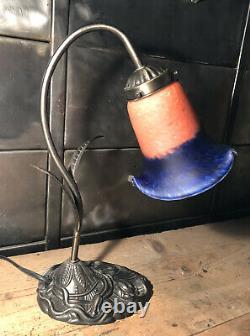 Lampe De Bureau Style Art Nouveau Tulipe Pâte De Verre H 35 Cm
