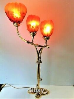 Lampe Magnolia Pied style Majorelle, Art Nouveau, socle en Bronze