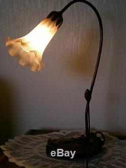 Lampe Pied En Bronze Tulipe Pate De Verre Nenuphare Style Art Nouveau