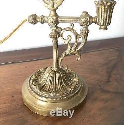 Lampe bureau orientable bronze style Louis XVI tulipe pâte de verre Art nouveau