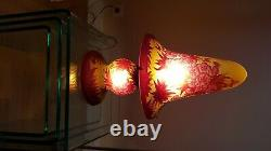 Lampe champignon gravée style Gallé, Art Nouveau