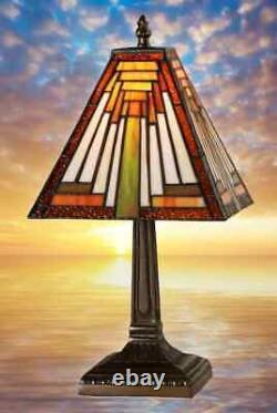 Lampe de Table Dans Tiffany Style Antiquités Art Design Couleur Bronze Main 9