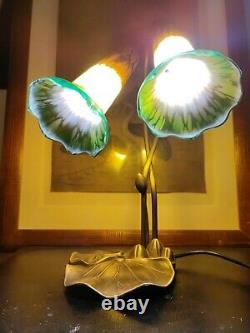Lampe de col style tyffany art nouveau verre marmoreen